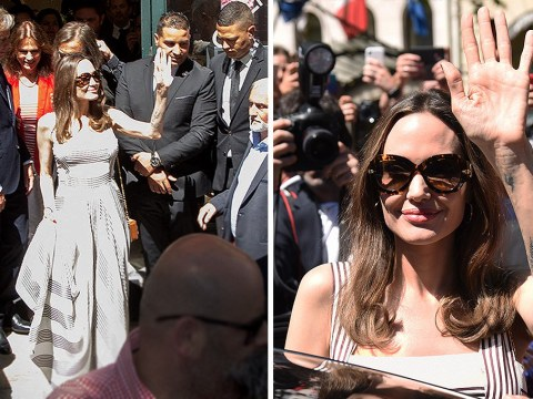 Angelina Jolie is greeted like the queen that she is by enamoured French fans