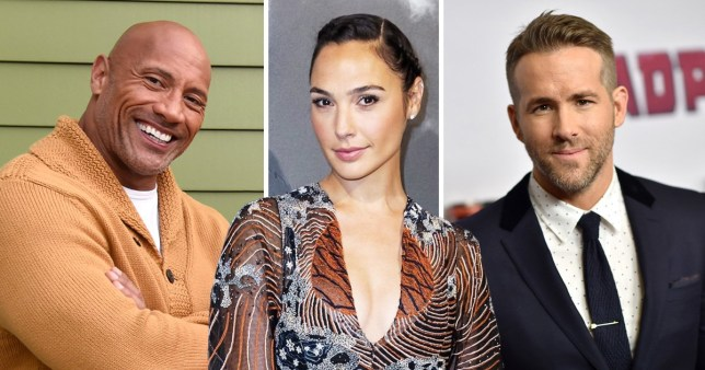 Ryan Reynolds, Gal Gadot, Dwayne Johnson