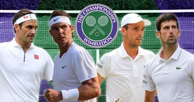 Wimbledon semi-finalists Roger Federer, Rafael Nadal, Roberto Bautista Agut and Novak Djokovic look on