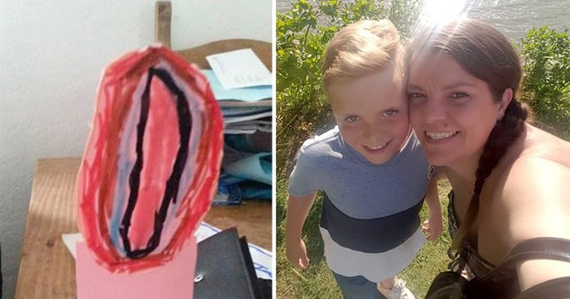 Mum left in hysterics after son draws a picture of a tulip that looks more like a vagina