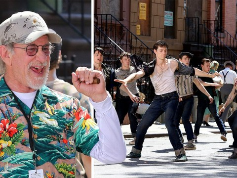 Steven Spielberg can't keep the smile off his face as West Side Story shoots in Harlem