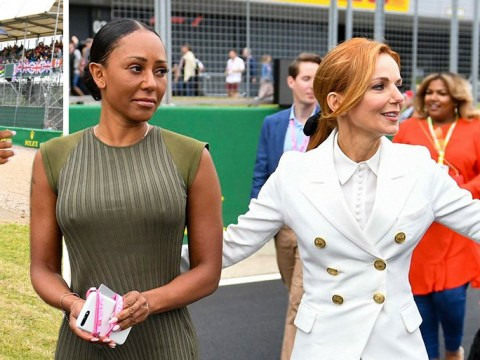 Spice Girls stars Geri Horner and Mel B put sex bombshell behind them as they hang out at Silverstone