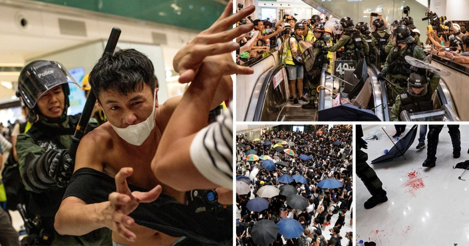 Four pictures of violent Hong Kong protests in shopping centre