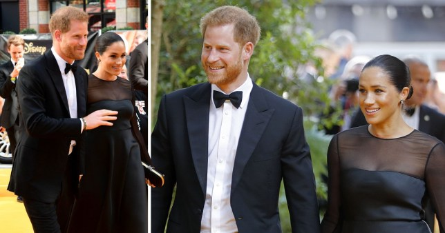 Prince Harry and Meghan Markle at premiere of Lion King remake in Leicester Square
