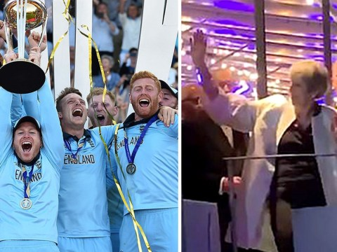Theresa does the Maybot again as she celebrates England Cricket World Cup win