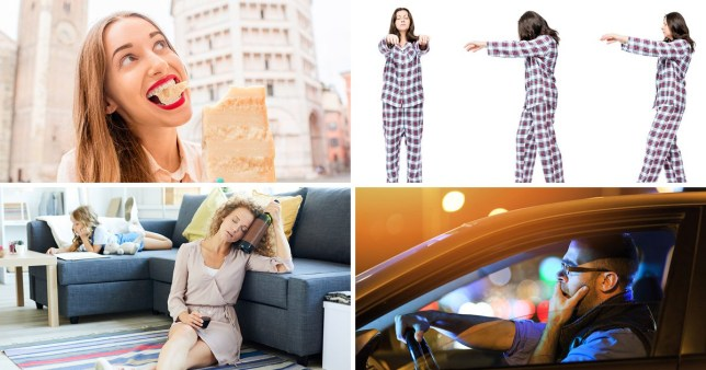 Woman eating cheese, woman sleepwalking, woman holding wine by a sofa with her child, man driving while yawning