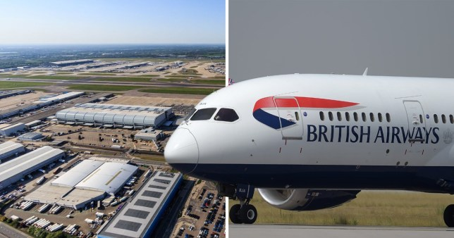 Picture of Heathrow Airport next to British Airways plane
