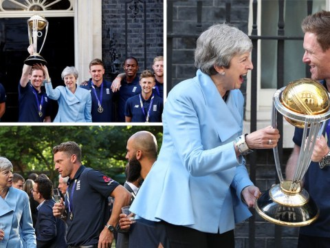 Theresa May giddy with excitement as she hosts England cricket team at Downing Street