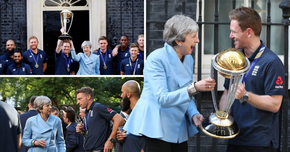 Theresa May appeared delighted as she congratulated the England team (Picture: Reuters/PA)