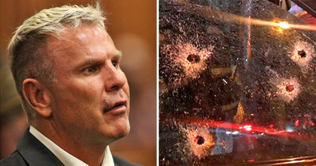 Former-South African footballer Marc Batchelor (left) next to a picture of his bullet ridden windshield after his murder