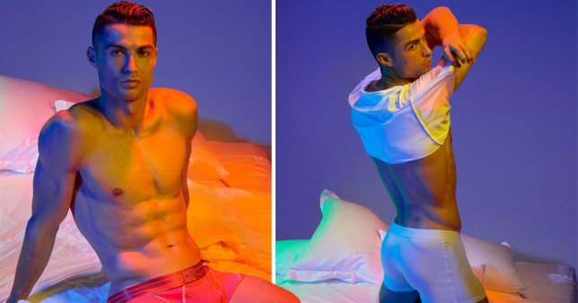 Cristiano Ronaldo topless modelling new CR7 collection