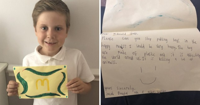 Jacob Douglas, 8, wrote a letter to McDonald's asking them to cut down on plastic