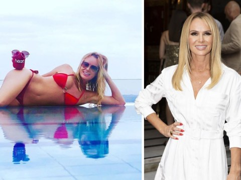 Amanda Holden proves she's always working as she takes radio mic muff on holiday with her