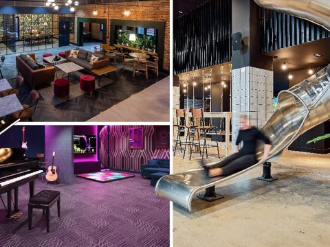 Luxury university halls offer students slides to get to lectures