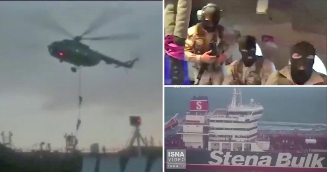 Iranian Revolutionary Guard claims that the UK sent two helicopters to harass Iranian troops as they seized the tanker.