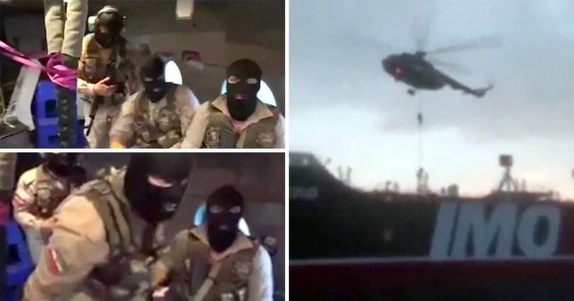 Footage showed balaclava-clad authorities boarding the British-flagged ship