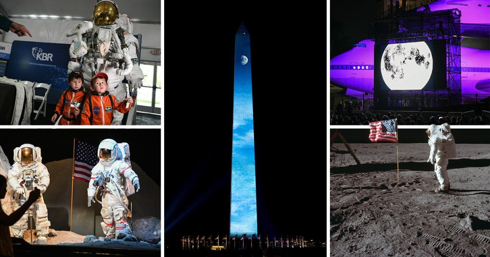 Thousands of people marked the moon landing anniversary