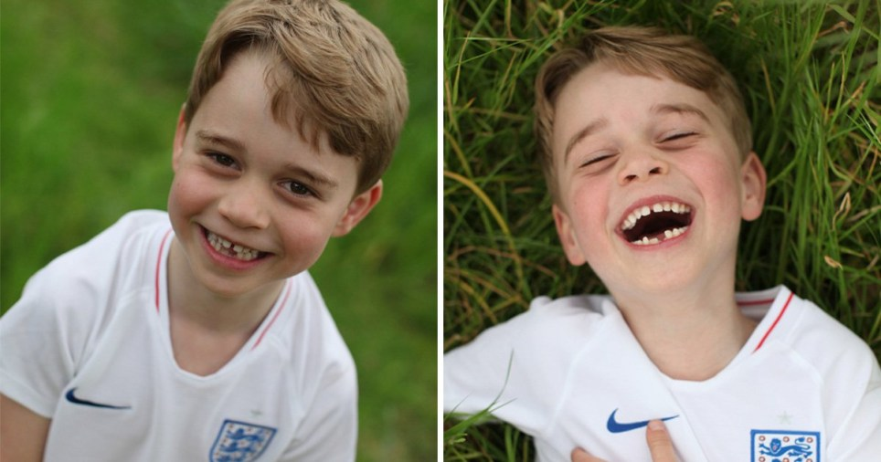 Prince George smiles for official royal photos outside Kensington Gardens to mark sixth birthday