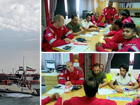 Crew of Stena Imperio oil tanker seen for first time on Iranian state TV