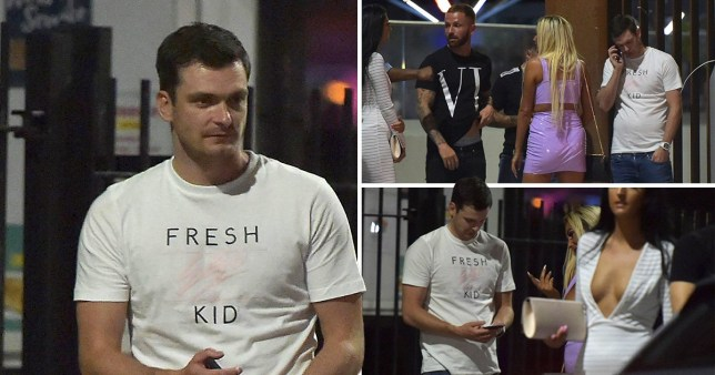 Adam Johnson was snapped in the t-shirt outside a club in Middlesborough