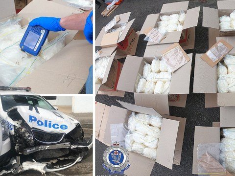 Van filled with £112,000,000 of drugs crashes into police car