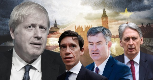 Boris Johnson, Rory Stewart, David Gauke and Phillip Hammond in front of backround with houses of parliament, UK and EU flags