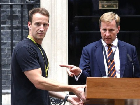 New prime minister totally overshadowed by the return of 'Hot Podium Guy'