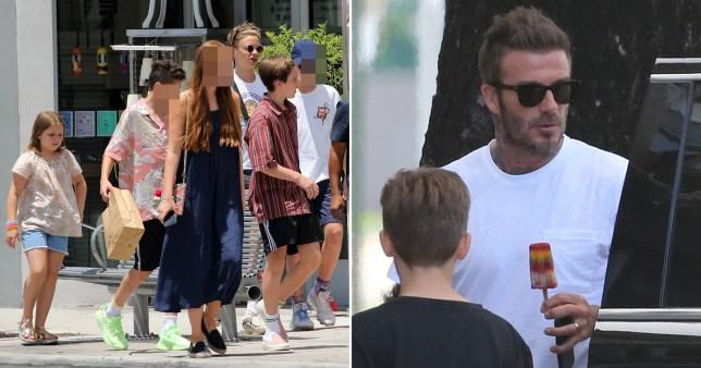 David Beckham and kids Cruz, Romeo and Harper