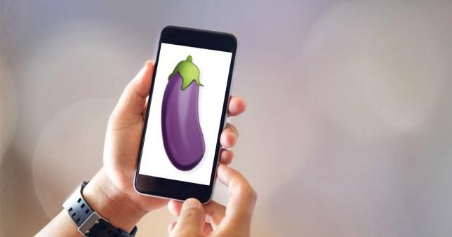 aubergine emoji on a phone screen