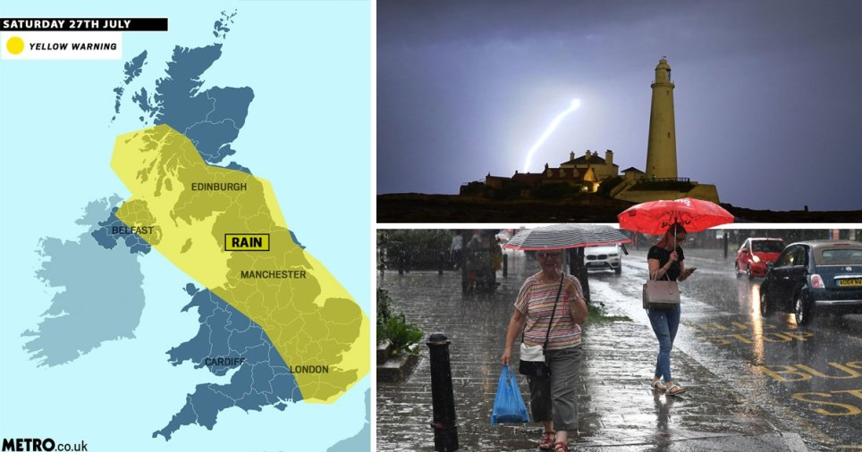 A yellow weather warning is in place for much of the country, with 100mm of rain expected in some places (Picture: PA)