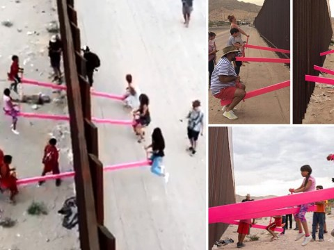 Seesaw at US-Mexican border lets children play together in defiance against Trump