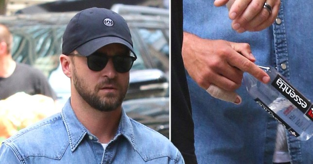 Justin Timberlake leaves the recording studio with an injured finger