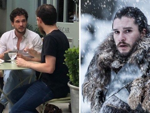 Kit Harington smiling and relaxed as he talks with a mate in London following rehab stint