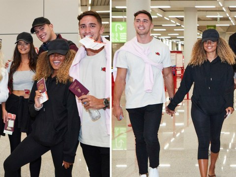 Love Island winners Amber and Greg look loved up as they head home to the UK after scooping £50k