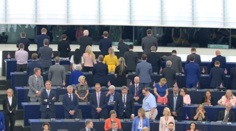 NIGEL Farage's Brexit Party have turned their backs on the EU today as they are sworn into the Parliament today. The 29 MEPs stood with their backs turned as the European anthem 'Ode to Joy' was played in Strasbourg.