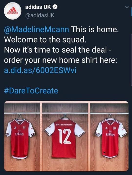 buy popular 55633 da31c Arsenal kit launch horribly backfires with Madeleine McCann ...
