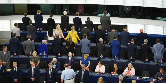 Brexit party members turn their backs on the musicians during the European Anthem at the first session of the new Parliament at the European Parliament, in Strasbourg, France, 02 July 2019. EPA/PATRICK SEEGER