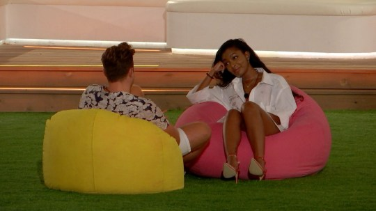 From ITV Studios Love Island: SR5: Ep26 on ITV2 Pictured: Curtis and Jourdan talk. This photograph is (C) ITV Plc and can only be reproduced for editorial purposes directly in connection with the programme or event mentioned above, or ITV plc. Once made available by ITV plc Picture Desk, this photograph can be reproduced once only up until the transmission [TX] date and no reproduction fee will be charged. Any subsequent usage may incur a fee. This photograph must not be manipulated [excluding basic cropping] in a manner which alters the visual appearance of the person photographed deemed detrimental or inappropriate by ITV plc Picture Desk. This photograph must not be syndicated to any other company, publication or website, or permanently archived, without the express written permission of ITV Picture Desk. Full Terms and conditions are available on the website www.itv.com/presscentre/itvpictures/terms For further information please contact: james.hilder@itv.com / 0207 157 3052