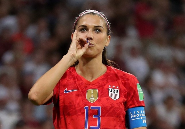 LYON, FRANCE - JULY 02: Alex Morgan of the USA celebrates after scoring her team's second goal during the 2019 FIFA Women's World Cup France Semi Final match between England and USA at Stade de Lyon on July 02, 2019 in Lyon, France. (Photo by Catherine Ivill - FIFA/FIFA via Getty Images)