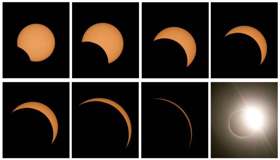 epa07690805 (COMPOSITE) - Different phases of the total solar eclipse seen from the La Silla Observatory located in the region of Coquimbo, Chile, 02 July 2019. A total solar eclipse will cross above Chile and Argentina, as well as the waters of the South Pacific. EPA/ALBERTO VALDES