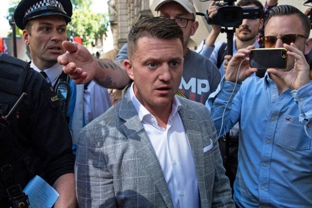 Tommy Robinson arrives at the Old Bailey