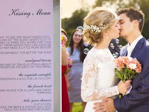 Couple gives wedding guests a 'kissing menu' of tasks to complete if they want to see them kiss