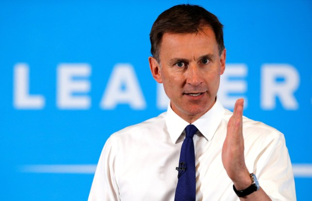 Jeremy Hunt, a leadership candidate for Britain's Conservative Party, attends a hustings event in Nottingham, Britain, July 6, 2019. REUTERS/Phil Noble