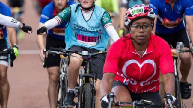 A black female rider was photoshopped into this promotional picture for RideLondon RIDE LONDON