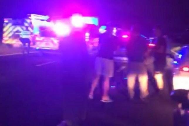 Crash scene on the M61 near junction 8