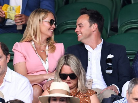 Ant McPartlin and Anne-Marie Corbett look happier than ever as they watch the action at Wimbledon