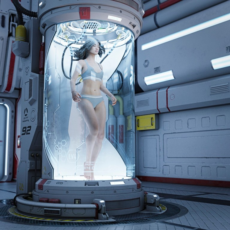 Futuristic woman floats in cryogenic chamber