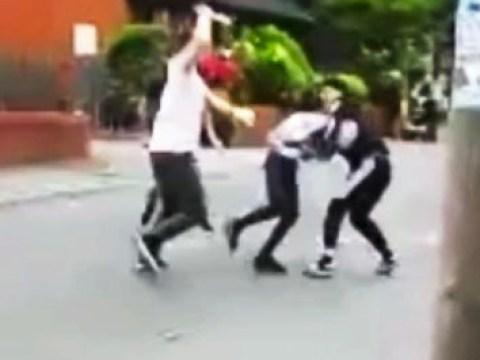 Knife gang filmed fighting in street before teenager is stabbed