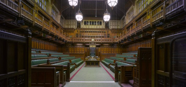 Commons Chamber, Palace of Westminster, London. Architects: Sir Charles Barry and A. W Pugin. (Photo by Arcaid/Universal Images Group via Getty Images)