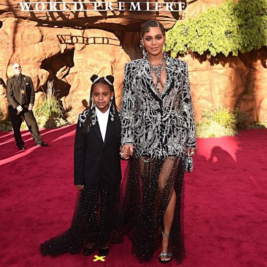 Beyonce and her daughter Blue Ivy at The Lion King premiere